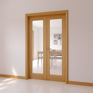 Clear Glazed American White Oak Veneer Internal French Door Set