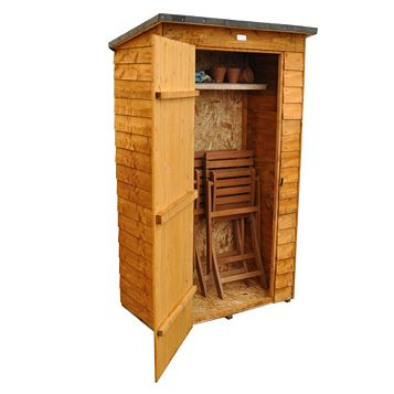 Outdoor Small Storage 3'7'' x 2'2'' Approx Overlap Dip Treated Wood Pent Tool Store