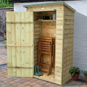 Outdoor Small Storage 3'7'' x 2'2'' Approx Overlap Pressure Treated Wood Pent Tool Store