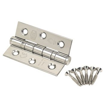 Polished Stainless Steel Grade 7 Ball Bearing Hinge (L)76mm, Pack of 2