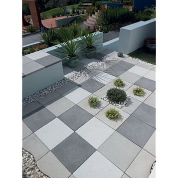 Grey Textured Single Paving Slab (L)600mm (W)600mm
