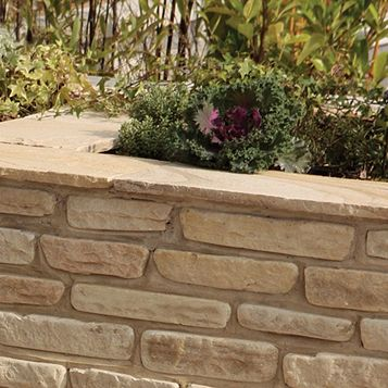 Sandstone Double Sided Coping Fossil Buff, (L)450mm (T)35-40mm Pack of 28