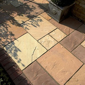 Natural Sandstone Brown Single Paving Slab, (L)600mm (W)300mm (T)24mm