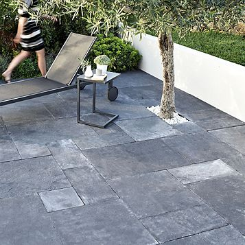 Blue Black Natural Limestone Single Paving Slab (L)600mm (W)300mm