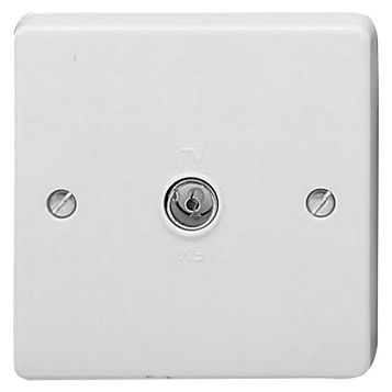Crabtree White Plastic Co-Axial Socket