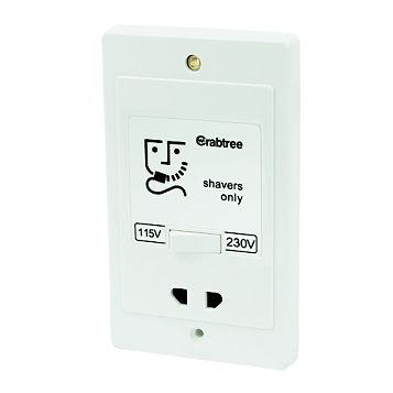 Crabtree Raised Rounded White Screwed 115/230V Dual Voltage Shaver Socket