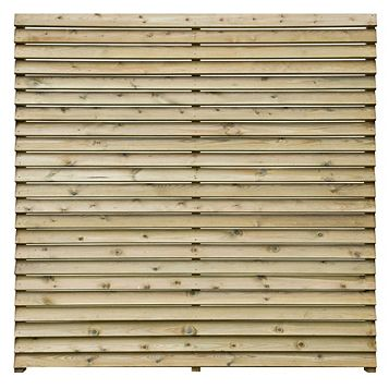 Louvre Slatted Fence Panel (W)1.8m (H)1.8m, Pack of 3