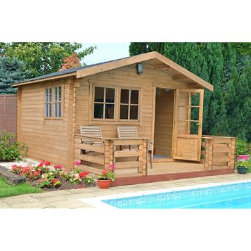 Kinver 14X14 Loglap Timber Log Cabin - Assembly Required