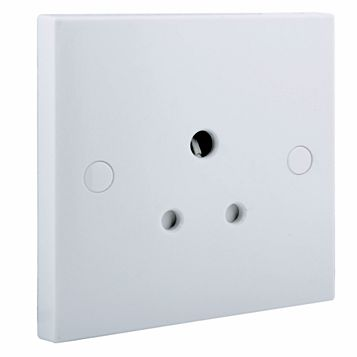 5A 1-Gang White Unswitched Socket
