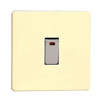 Varilight 20A 1-Way Single White Chocolate Single Switch with Neon