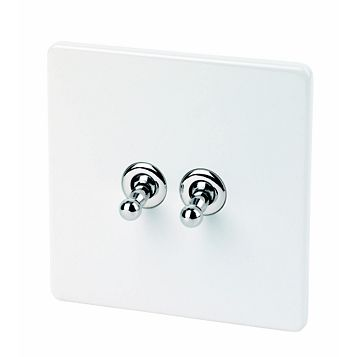Varilight 2-Gang 2-Way 10A White Toggle Switch