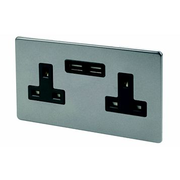 Varilight 13A 2-Gang Slate Grey Polished Unswitched Socket