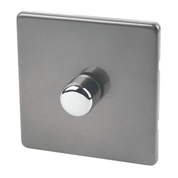 Varilight 1-Gang 2-Way Grey Push LED Dimmer Switch