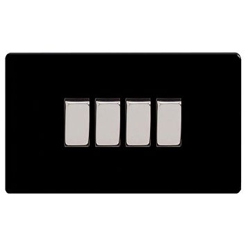 Varilight 10A 2-Way Jet Black Quadruple Light Switch