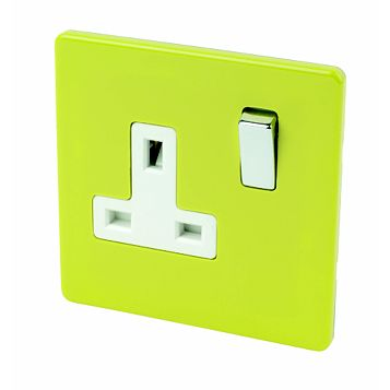 Varilight 13A 1-Gang Lime Green Polished Switched Socket