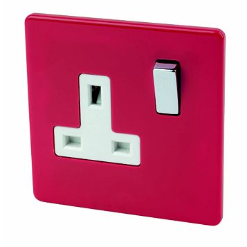 Varilight 13A 1-Gang Claret Polished Switched Socket