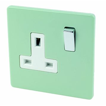 Varilight 13A 1-Gang Sage Polished Switched Socket