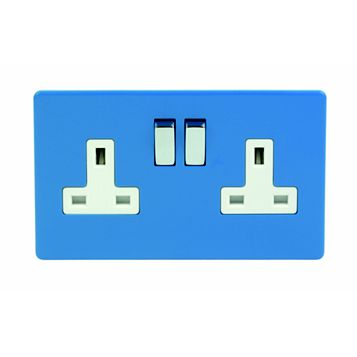 Varilight 13A 2-Gang Cobalt Polished Switched Socket