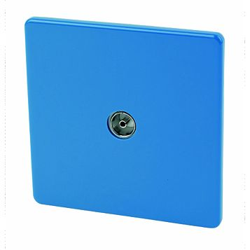Varilight Flat Plate Screwless Blue Co-Axial Socket