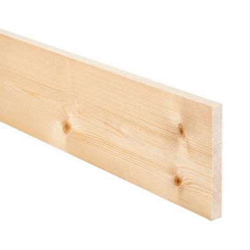 Softwood Smooth Planed Timber (L)1800mm (W)144mm (D)18mm, Pack of 4
