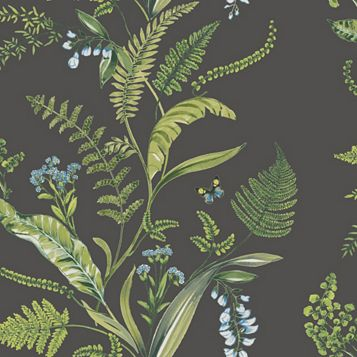 Fern & Flowers Floral Wallpaper