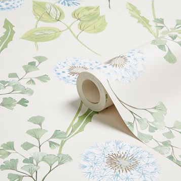 Dandelion Cream, Blue & Green Floral Mica Wallpaper
