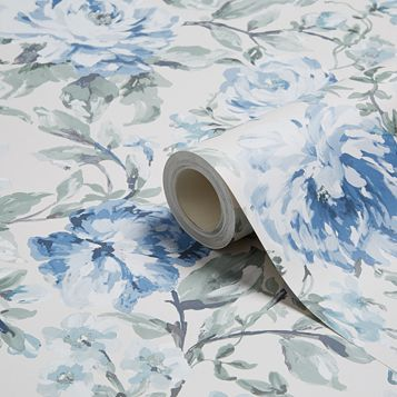 Painterly Blue & Cream Floral Wallpaper
