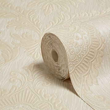 Siena Damask Trail Beige Heavyweight Vinyl Wallpaper
