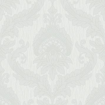 Siena Damask Grey Cotton Wallpaper