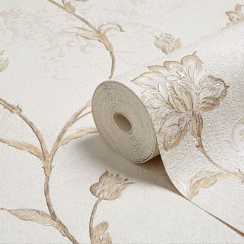 Roselea Soft Grey Floral Trail Wallpaper