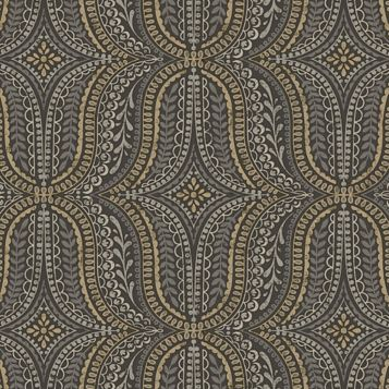 Farah Black & Gold Effect Geometric Wallpaper