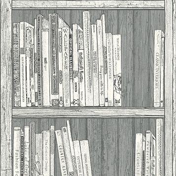 Grey & White Bookcase Wallpaper