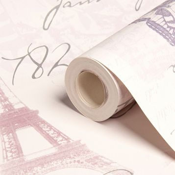 Paris Heather & Silver Calligraphy Wallpaper