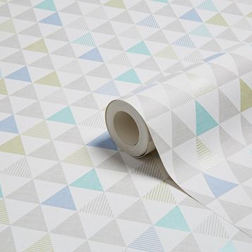 Oslo Blue Geometric Wallpaper