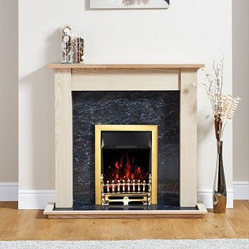 Blenheim Brass Inset Electric Fire Suite