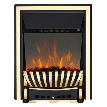Elegance Brass & Black Electric Inset Electric Fire