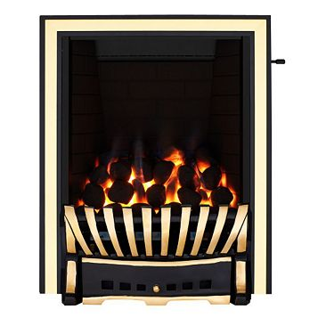 Focal Point Elegance Black & Brass Slide Control Inset Gas Fire