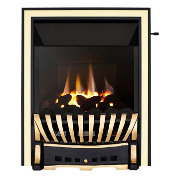 Focal Point Elegance High Efficiency Black & Brass Slide Control Inset Gas Fire