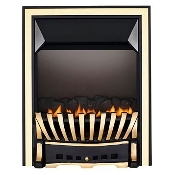 Focal Point Elegance Flue Less Black & Brass Manual Control Inset Gas Fire