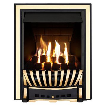 Focal Point Elegance Black & Brass Effect Manual Control Inset Gas Fire
