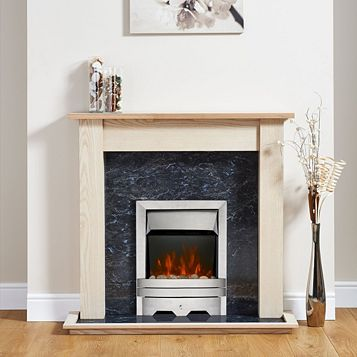 Lulworth Stainless Steel Inset Electric Fire Suite