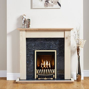 Elegance Antique Brass Inset Gas Fire Suite