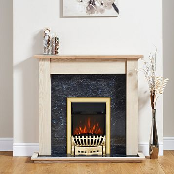 Elegance Brass Inset Electric Fire Suite