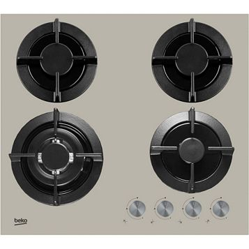 Beko 4 Burner Grey Stainless Steel Gas On Glass Hob