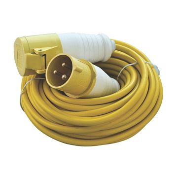 CED 1 Socket 16 A External 3 Pin Extension Lead C/W Plug & Connector 14m Yellow