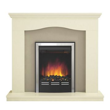 Penelope Soft White & Suede Finish Electric Inset Electric Fire Suite