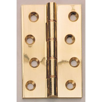 Polished Brass Double Phosphor Bronze Hinges (L)102mm, Pack of 2
