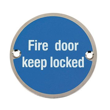 Stainless Steel Fire Door Keep Locked Sign (Dia)76mm