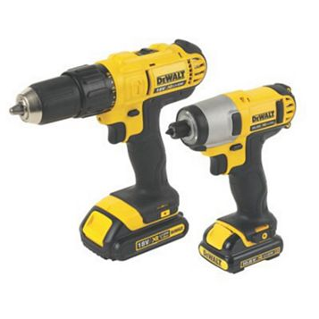 DeWalt 18V Li-Ion Combi Drill/Impact Driver Twin Pack 2 x Batteries Included, DCZ296CS-GB