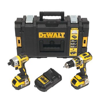 DeWalt Xr 18V Li-Ion Combi Drill & Impact Driver Kit 2 Batteries DCK250P2-GB